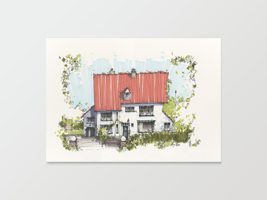 House sketch on canvas print